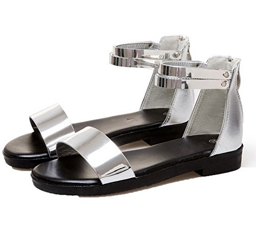 Open Patent Solid Women's Zipper Sandals Toe Low Silver WeiPoot Leather Heels qIg0nRw