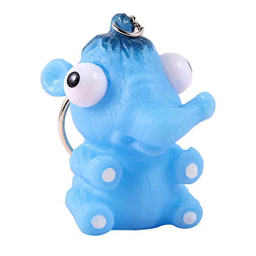 Pausseo Pop Out Keychain Stress Reliever Tools Cartoon Squeeze Lovely Animal Squeeze Vent Toys Gift Toy Gift Pendant Handbag Backpack Crossbody Charm Elegant Key Ring Eye-catching Doll (Blue)
