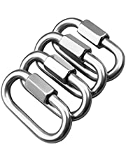 AOWISH Quick Links, Chain Links, Rope Connector, 304 Stainless Steel (4 Pack), Locking Carabiner, Keychain Buckle, Lock Ring - 5/16 Inch(8 mm) Diamter - 1,525 Lbs Capacity (Silver/M8)