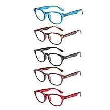 LIANSAN 5 Packs Hinged Readers Glasses Cat Eye 1.00 1.5 2.0 2.5 3.0 3.5 4.0 for Mens Women Reading Glasses L3712 5 pairs +1.5