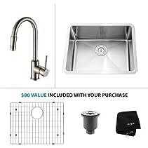 Kraus KHU101-23-KPF-1622 Kitchen Combo - 23  Undermount Single Basin 16-Gauge St, Stainless Steel / Satin Nickel