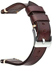 Berfine Retro Handmade Watch Band, Quick Release Vintage Leather Watch Strap Replacement,Choice of Width-18mm 20mm 22mm 24mm or 26mm
