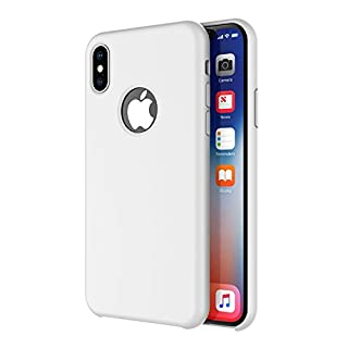 Arteck iPhone X/iPhone Xs Case, Liquid Silicon Rubber iPhone Xs (2018) iPhone X (2017) 5.8 inch Shockproof Case with Soft Microfiber Cloth Cushion - White