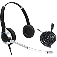 TruVoice HD-350 Deluxe Double Ear Headset with Noise Reduction Voice Tube Including Bottom Cable that works with Mitel, Nortel, Avaya Digital, Polycom VVX, Shoretel, Aastra + Many More