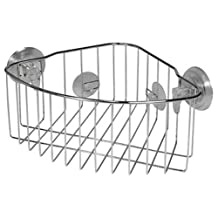 InterDesign Reo Power Lock Suction Bathroom Shower Corner Caddy Basket for Shampoo, Conditioner, Soap - Stainless Steel