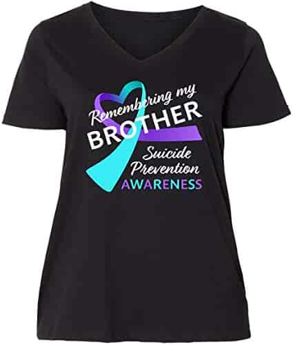 75a1c277 inktastic Remembering My Brother- Suicide Prevention Ladies Curvy V-Neck Tee