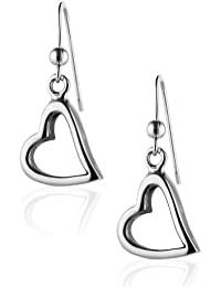 925 Sterling Silver Modern Symbolic Open Heart Dangle Earrings, Fashion Jewelry for Women & Girls