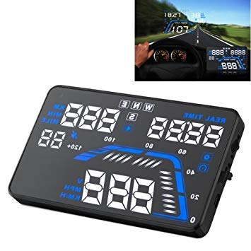 Uniqus Q7 5.5 inch Car GPS HUD Vehicle-Mounted Head Up Display Security System, Support Speed & Real Time & Altitude & Over Speed Alarm & Satellite Number, etc