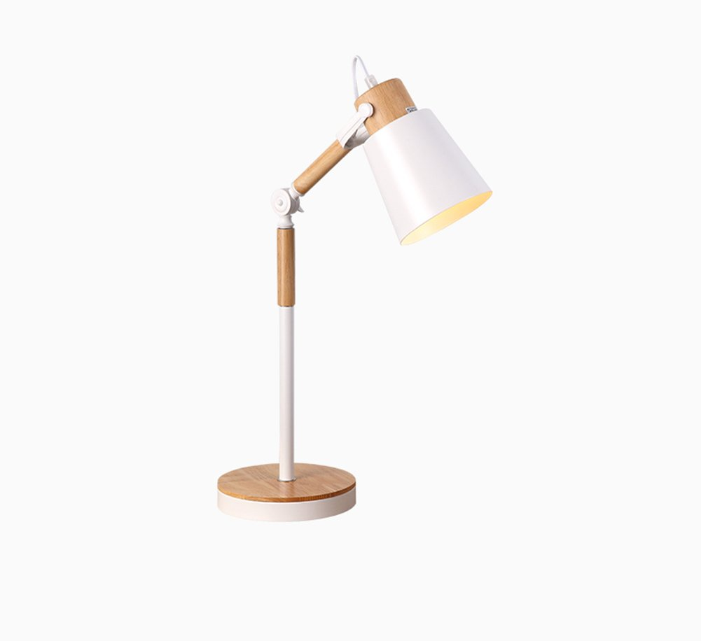 HTD GUGoldNG Japanische Tischlampe, Schlafzimmer Nachttisch Nordic verstellbar Woody Eye Leselicht E27  1 Netzschalterknopf Energieeinsparung und Umweltschutz Moderne Einfac (Farbe   Weiß)