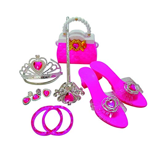 Girls Princess Dress Up Shoes & Role Play Party Jewelry Set Accessories,with Handbag, Tiara,Bracelets,Ring,Earrings,Wand (Pink)