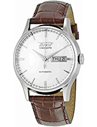 Mens TIST0194301603101 Heritage Visodate Stainless Steel Automatic Watch with Brown Leather Band