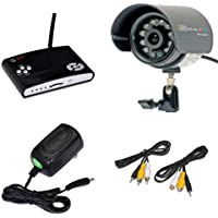 Q-SEE Surveillance Indoor / Outdoor Security System DVR Kit 1 QSW1001R Wireless Video Recorder with 1 60 Wired Weatherproof Night Vision CMOS Color LED Camera with Audio