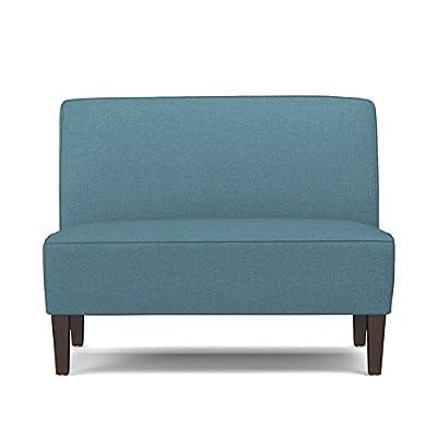 Portfolio Wylie Caribbean Blue Linen Armless Settee | Ideal for Small Space Living - Dark espresso