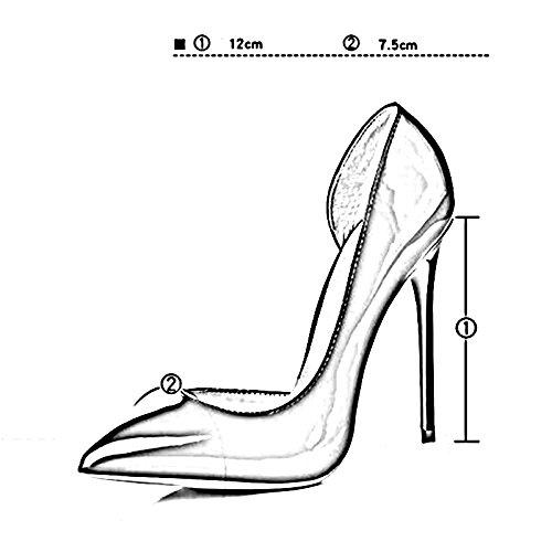YIXINY Pumps M213 Einzelne Schuhe Frau PU+Gummi Seite Leer Spitz Spitz Leer Flacher Mund Gut Ferse 12cm Schuhe Mit Hohen Absätzen Rose Rot, Weinrot ( Farbe : 2 , größe : EU37/UK4.5-5/CN37 ) 2 5d7e37