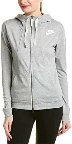 fe1b19939 Nike Womens Gym Classic Full Zip Hooded Sweatshirt Grey Heather/Sail  924081-063 Size