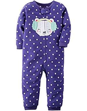 Baby Girls' 1-Piece Fleece Footless Pajamas