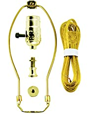 """GE, Yellow, 3-Way Kit, Extra Long 8 Ft Clear Cord, 10"""" Gold Harp, DIY Lamp Wiring Parts, 250VAC, 250W, UL Listed, 50960"""