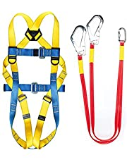 Safety Harness Fall Protection, Roof Harness Safety Kit, Five Points Full Body Industrial Harness Kit, Adjustable Belt With Shock Absorbing Hook Lanyard