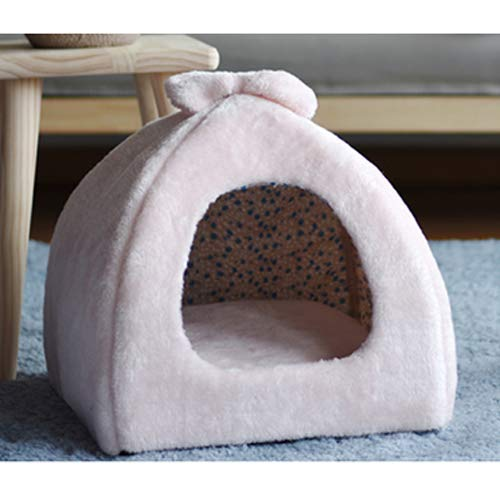 GCSEY Pink Cute Princess Cat Dog Pet Nest Teddy Small Dog Kennel Net Red Cat Litter