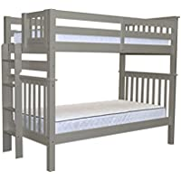 Bedz King Tall Bunk Beds Twin over Twin Mission Style with End Ladder, Gray