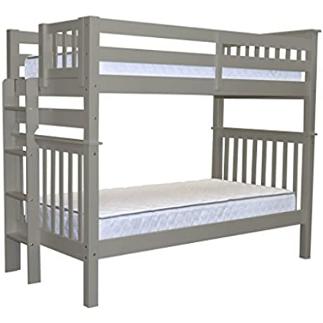 Bedz King Tall Mission Style Bunk Bed Twin Over Twin With End Ladder Gray