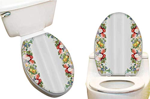 Vinyl Toilet Set Cover Paper Decor for Rose Garl Pastel NES Jasm e Cornflower Bouquet Classic Bloom Fashion Toilet Seat Sticker Vinyl Art 6