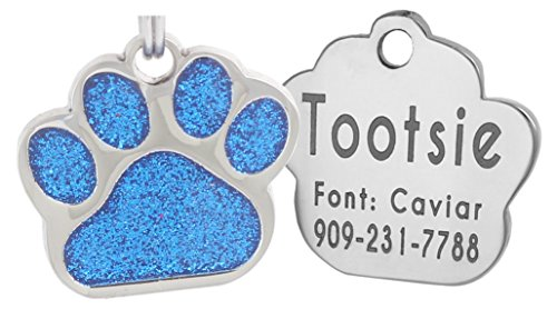 Laser Engraving Glitter Paw Pet ID Tags Custom Personalized for Dog & Cat Paw Print Tag (Blue)