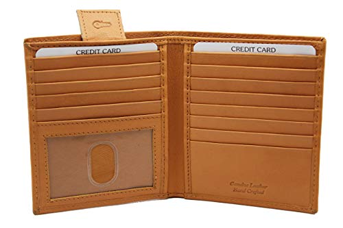 Genuine Top Grain Leather Bifold Hipster wallet 14 card slots Thumb ID Key Holder Euro Size -