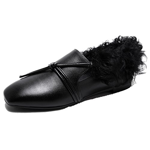 and Fashion Buckle Black Loafers Slip Retro Outdoor with on Round ENMAYER leather Slippers Toe Furry Flat Black Women's ZxSwtA