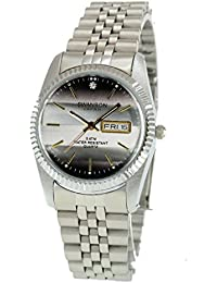 Mens Stainless Steel Silver Day-Date Watch Gray Dial