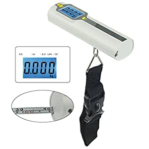 AMA(TM) Precision Portable Electronic Digital LCD Weight Luggage Scale (White)