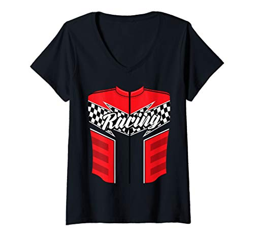 Womens Cute Race Car Driver Halloween Costume Art Drag Racer Gift V-Neck T-Shirt]()