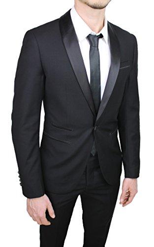 Abito Completo Uomo Sartoriale Raso Nero Lucido Vestito Smoking Slim Fit  Aderente  Amazon.it  Abbigliamento e545bab8df6