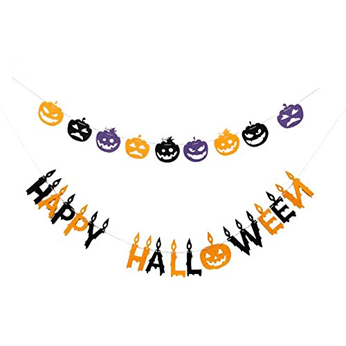 NKIPORU Happy Halloween Banner Halloween Decorations Non-Woven Fabric Flag Garland Door Cover Garden Decor with Bat Pumpkin Element, 10 Feet (Happy Halloween Series (Happy Halloween Bats)