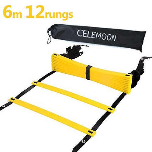 CELEMOON Upgraded Material 12-Rungs Agility Speed Training Ladder + Black Carry Case, with Connecting Snap, Ideal for Soccer, Football, Fitness, Feet Training, Yellow by CELEMOON