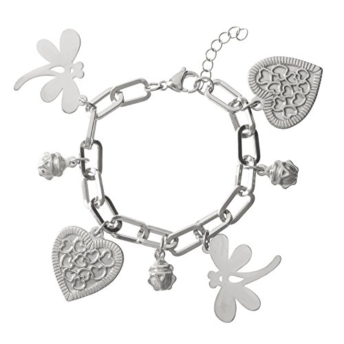 Nickel Free Costume Jewellery Uk (Stainless Steel Dangling Heart/Dragonfly & Beetle Charms Oval Link Bracelet)