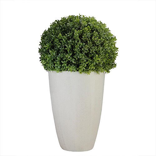 Northlight Artificial Boxwood Plant in Decorative Stone Look Ceramic Pot, 27'', White by Northlight