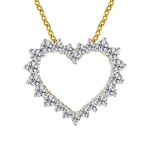 Luxury Heart Necklace 1/2 cttw Lab Grown Diamond Heart Pendant Lab Created Diamond Necklace SI-GH Quality 10K Real Diamond Pendant Yellow Gold Diamond Jewelry Gifts (1/2 cttw, Yellow Gold) ()