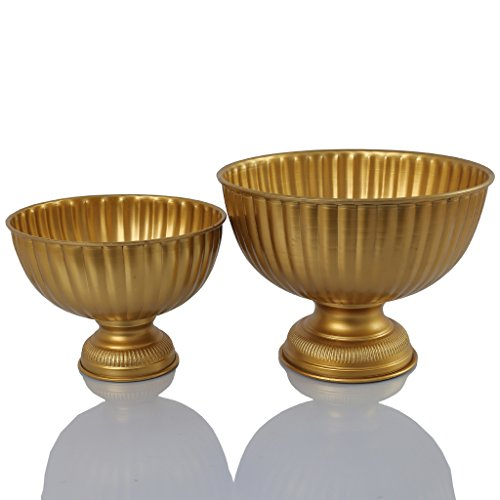 Koyal Wholesale Gold Metal Pedestal Bowl 8 x 7.5-Inch Floral Compote Vase, For Wedding Centerpiece