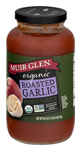Muir Glen Organic Roasted Garlic Pasta Sauce, Fat Free, 25.5 - Seasoned Sauce Tomato