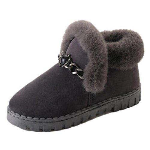 Slip on Mashiaoyi Women's Boots Fur Snow Gray Flat Short ArtEt