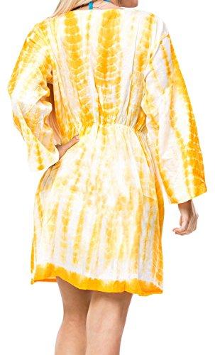 encubrir vestido beachwear del traje de manga larga de algodón túnica caftán parte superior del complejo kimono de crucero desgaste de la playa amarillo   nosotros: 12w-16w   Reino Unido: 14-18