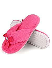 Onmygogo Princess Bejeweled Flip Flops for Grils, Little Big Kid Fuzzy Indoor Slippers with Soft Nonslip Rubber Sole Purple