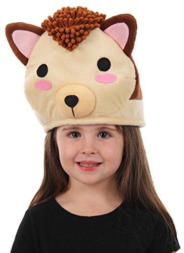 elope Cute Plush Hedgehog QuirkyKawaii Hat Brown]()
