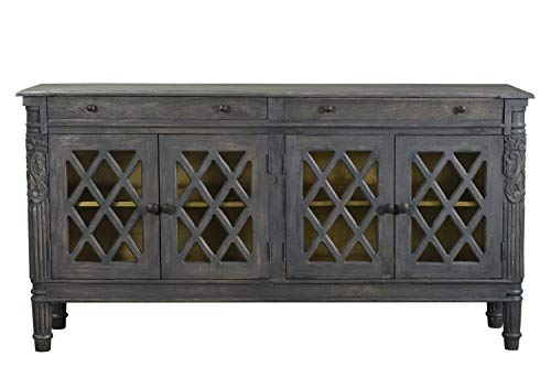 Lilliana Carved Sideboard for Living Room, Dining Buffet, 4 Drawers for Storage- Handcrafted Design
