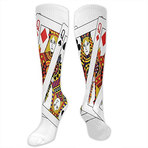Compression Socks,Queens Poker Set Faces Hearts And Spades Gambling Theme Symbols Playing Cards ()