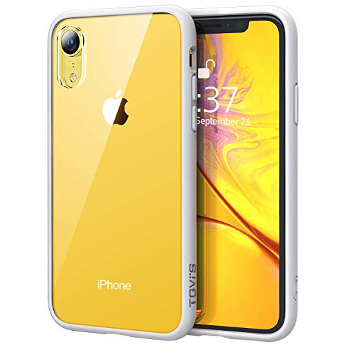 OCYCLONE iPhone XR Case Clear, Clear [Tempered Glass] Back Slim Thin Anti-Scratch with Soft TPU Frame and Air-Cushion Corners Protective Phone Case for iPhone XR - White Bumper