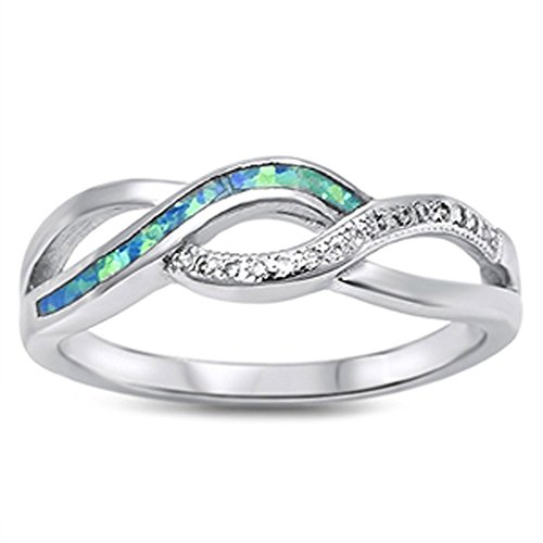 Lab Created Blue opal Twisted Band Infinity .925 Sterling Silver (Opal Wide Band Ring)