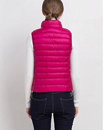 senza Giacca donna portatile Zipper maniche Leggero Piumino Parka Rose invernale dR8rqRxnt