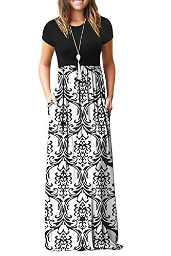 AUSELILY Women Short Sleeve Loose Plain Casual Long Maxi Dresses with Pockets (M, Black White)